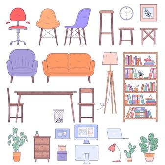 Elenent de design de móveis de casa e escritório e conjunto de vetores de ícone.