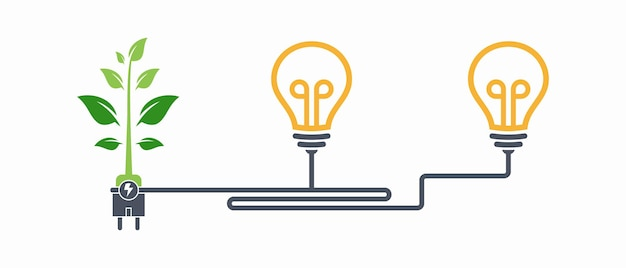 Eletricidade de energia verde, sinal de ícone de plugue elétrico com vetor de cabo e folha.
