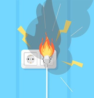 Eletricidade e defesa contra fogo ilustração colorida semi rgb. curto-circuito elétrico. equipamento elétrico. objeto de desenho de fiação defeituoso em fundo turquesa