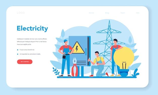 Eletricidade funciona banner da web ou página de destino do serviço.