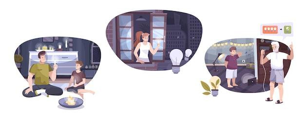 Eletricidade usa ilustração plana de composição