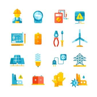 Eletricidade, vetorial, ícones