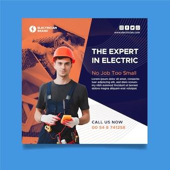 Eletricista panfleto quadrado