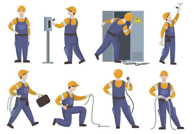 Eletricista profissional em uniforme, reparando conjunto plano de elementos elétricos.