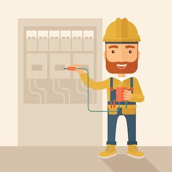Eletricista reparando um painel elétrico