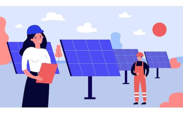 Eletricistas instalando painéis solares em campo. técnicos de desenho animado profissional, configuração de ilustração vetorial plana de fontes de energia renováveis. conceito de energia alternativa para banner, design de site