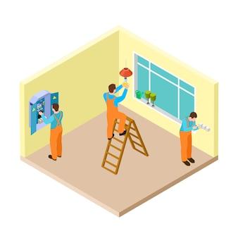 Eletricistas no trabalho na sala isométrica
