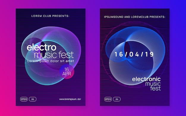 Eletro dança dj neon flyer
