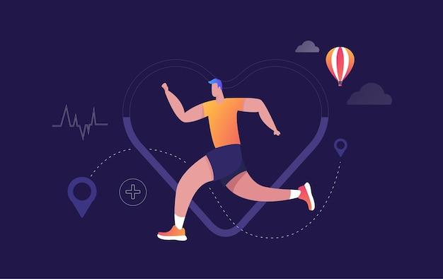 Eletrocardiograma de batimentos cardíacos e homem correndo. ilustração.