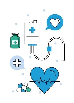 Eletrocardiograma de elementos médicos