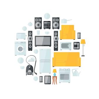 Eletrodomésticos, apartamento, coloridos, ícones