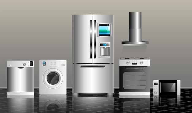 Eletrodomésticos de cozinha em um azulejo preto e em uma parede cinza. ilustração vetorial