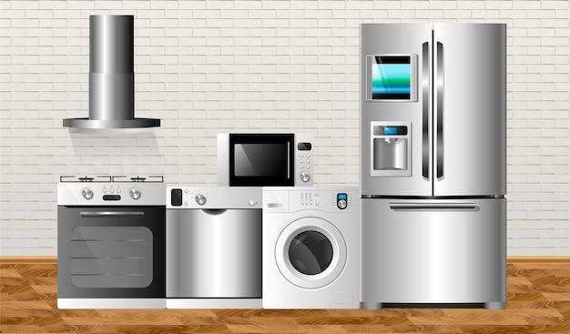 Eletrodomésticos de cozinha no fundo de uma parede de tijolos e em um piso de madeira. ilustração vetorial