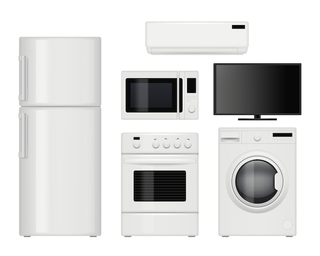 Eletrodomésticos. itens de cozinha domésticos realistas