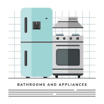 Eletrodomésticos para cozinha com geladeira e forno
