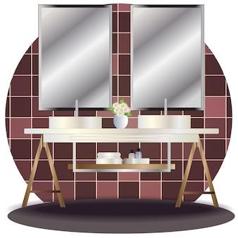 Elevação de casa de banho interior com fundo