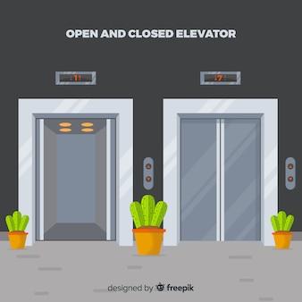 Elevador aberto e fechado com design plano