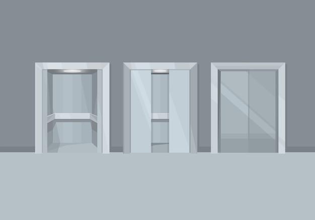 Elevador com portas abertas e fechadas.
