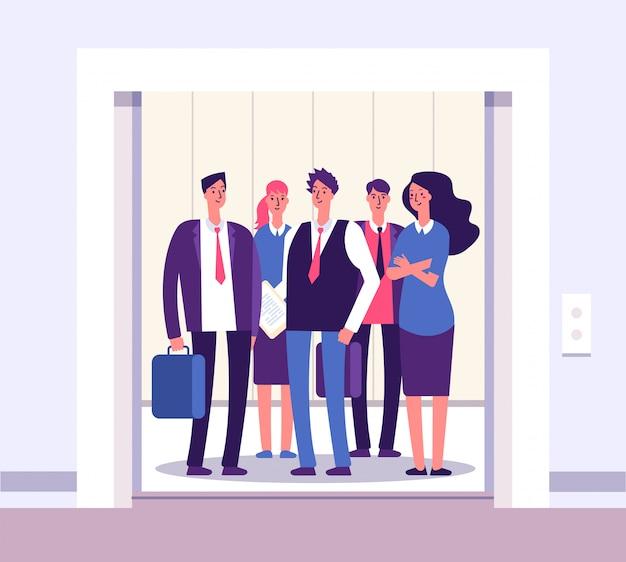 Elevador de pessoas. levante pessoas em pé mulher homem grupo dentro de elevadores escritório interior com negócios de porta aberta