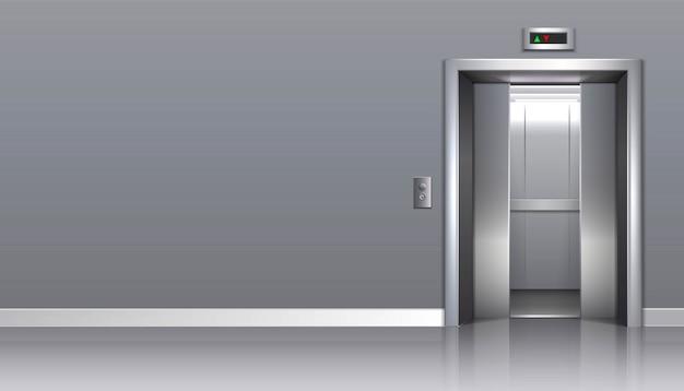 Elevador de prédio de escritórios com portas abertas e espaço para seu anúncio.