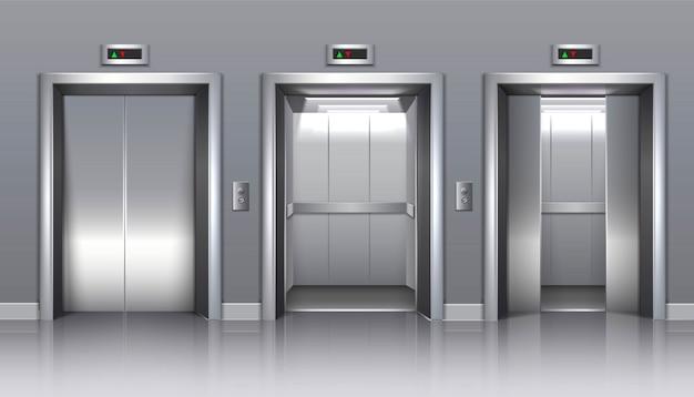 Elevador de prédio de escritórios com portas fechadas, abertas ou semi-fechadas.