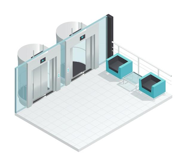 Elevador, elevador, isometric, interior, com, estilo contemporâneo elevador, corredor, dois, cadeiras, vidro, divisória