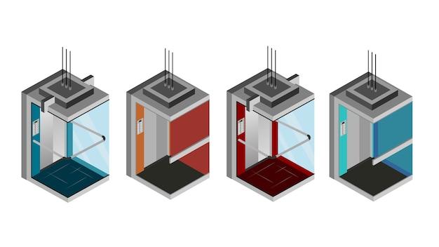 Elevador isométrico isolado ilustração vetorial