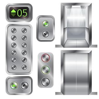 Elevador realista e painel de botões