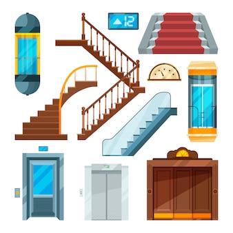 Elevadores e escadas em diferentes estilos.