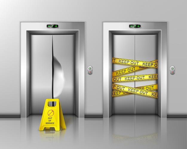 Elevadores quebrados fechados para reparo ou manutenção.