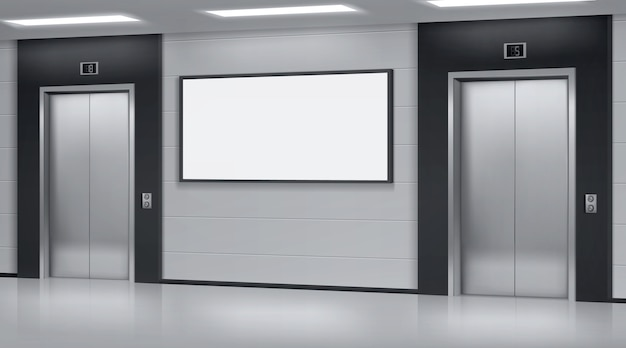 Elevadores realistas com portas fechadas e tela de pôster de anúncio na parede. escritório ou corredor de hotel moderno, interior do saguão vazio com elevadores e visor em branco, ilustração vetorial 3d