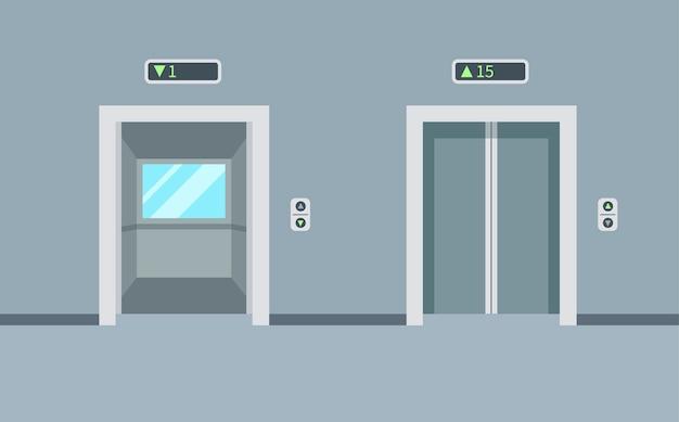 Elevadores vazios internos e externos no edifício. portas do elevador, abertas e fechadas. ilustração em estilo moderno simples.