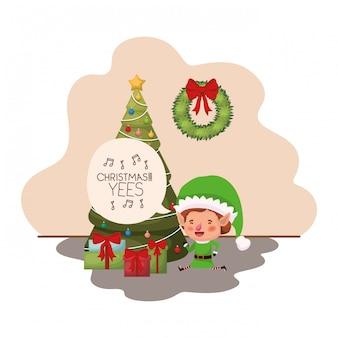 Elf com árvore de natal e presentes