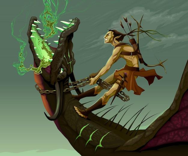 Elf está montando o dragão da fantasia do vetor ilustração