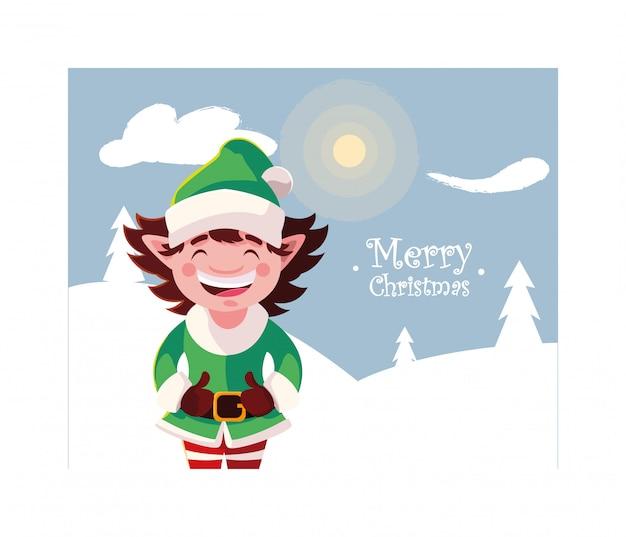 Elf na paisagem de inverno com letras de feliz natal