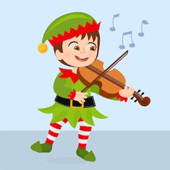Elf tocando músicas natalinas
