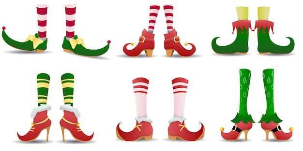 Elfo pernas sapatos de duende chapéu natal