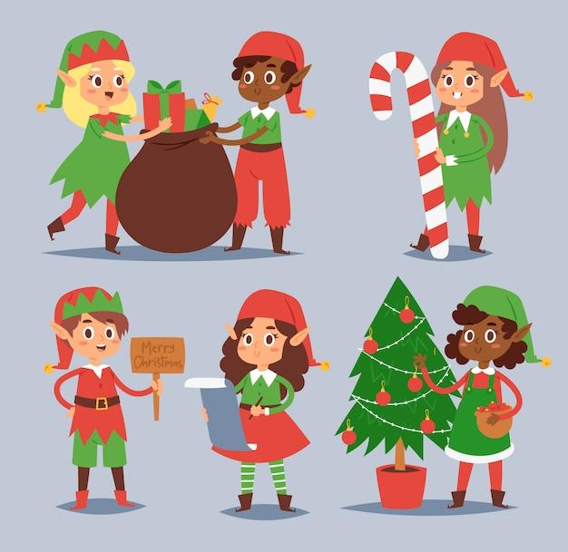 Elfos de natal crianças crianças ajudantes de papai noel cartoon elfish meninos e meninas jovens personagens traje tradicional comemorado
