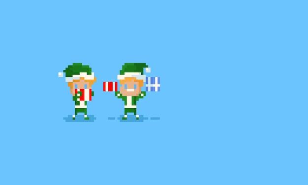 Elfos de pixel segurando caixas de presente de natal