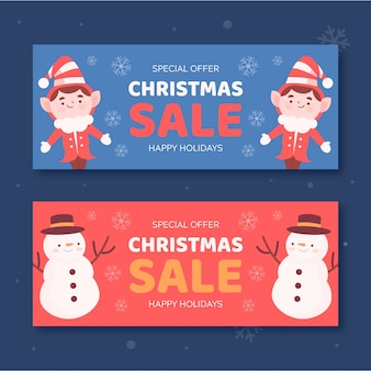 Elfos e bonecos de neve banners de venda de natal