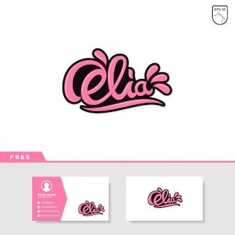 Elia efeito de texto letras e cartão de visita