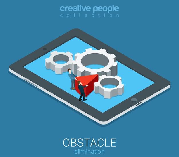 Eliminação de obstáculos de negócios de tecnologia isométrica plana