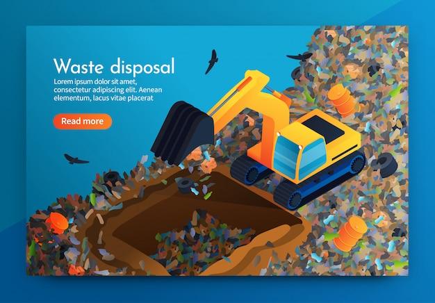 Eliminação de resíduos de aterragem plana no enorme depósito de lixo.