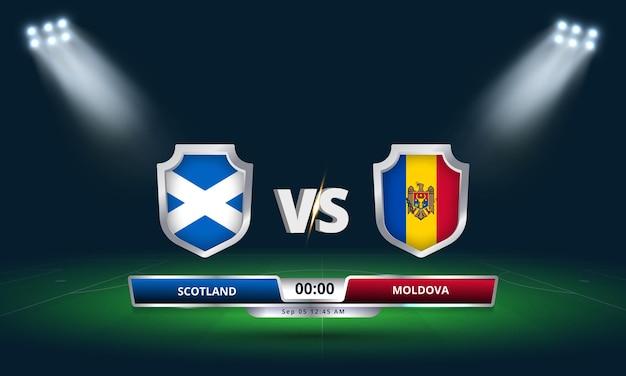 Eliminatória da copa do mundo da fifa 2022 partida de futebol da escócia x moldávia