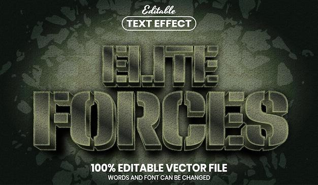 Elite força texto, efeito de texto editável de estilo de fonte Vetor Premium