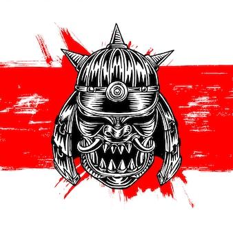 Elmo de guerra do guerreiro samurai com chifres