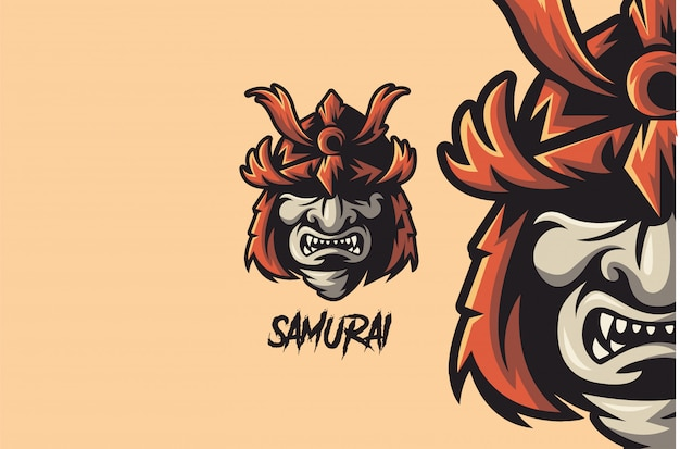 Elmo de guerra do guerreiro samurai