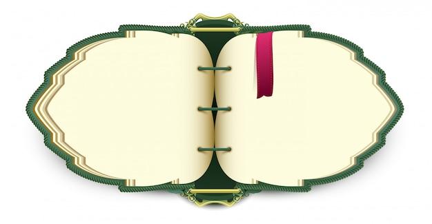 Elven mágico livro aberto com marcador vermelho