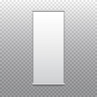 Em branco arregaçar carrinho bandeira isolado na transparente. exibição de show branco vazio. modelo de placa de enrolamento vertical pronto para publicidade, apresentação e exposição de seu produto.