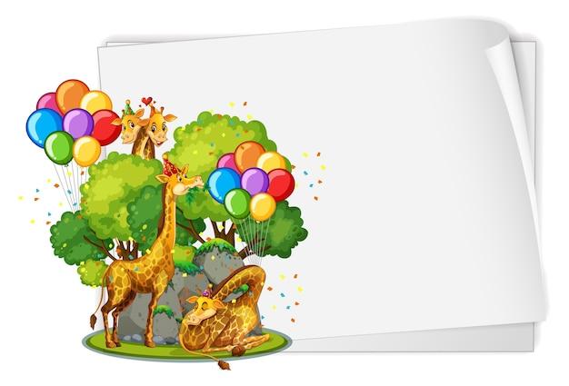 Em branco com muitas girafas no tema da festa